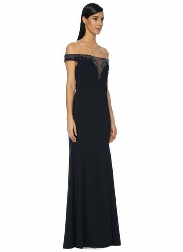 Theia Kayık Yaka Uzun Abiye Elbise Lacivert